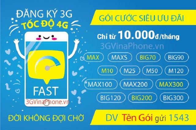 Gói cước đăng ký 3G Vinaphone trả sau